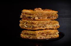 Honey Baklava, traditional Turkish sweets. Closeup Stock Photos