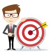 Lucky businessman at the target - stock illustration
