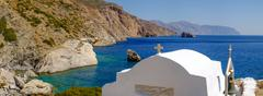 Romantic panorama view of beach with chapel,Greece Stock Photos