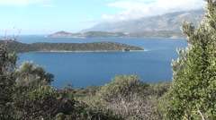 Beautiful sea panorama from the Lycian forest Stock Footage