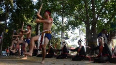 Phu Thai people boxing and dancing phu thai style Stock Footage
