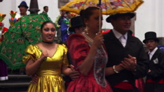 Dancers at festival in Quito's Plaza de la Independencia, Ecuador Stock Footage