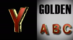 Rendered with alpha matted mode loop golden and red wood letter y Stock Footage