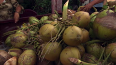 Cutting coconut rind Stock Footage