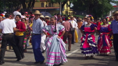 Dancers at an Independence Day parade in San Salvador Stock Footage