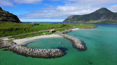 Picturesque harbor on Lofoten islands in Norway Stock Footage