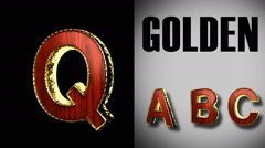 rendered with alpha matted mode loop golden and red wood letter q - stock footage