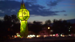Green Paper lanterns lit in Yeepeng festival,ChiangMai Thailand Stock Footage