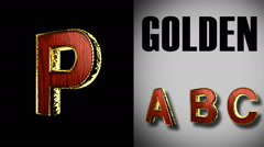 Rendered with alpha matted mode loop golden and red wood letter p Stock Footage