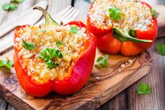 stuffed paprika with breadcrumbs and parsley - stock photo