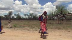 Masai women carrying loads and driving donkeys along track across Tanzanian - stock footage