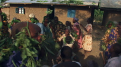 Folk dancers and drummers performing in Bundibugyo, Uganda Stock Footage