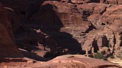 Sightseers and donkey riders near Petra, Jordan Stock Footage