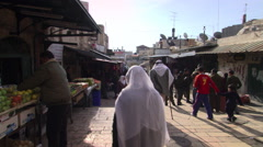 Vendors' stall along a tiered alleyway in an Israeli city Stock Footage