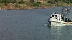 Fishing trawler on the Sea of Galilee Stock Footage