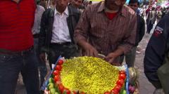 Food vendor in New Delhi marketplace Stock Footage