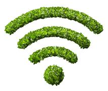 Wi-Fi Icon from the green grass. Stock Illustration