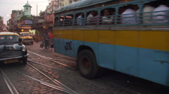 Busy Calcutta street in business district Stock Footage
