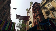 Colorful downtown marketplace on a Calcutta street Stock Footage