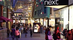 Large Crowd of People in Shopping Mall Stock Footage