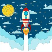 Rocket launch in space vector background - stock illustration