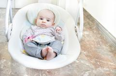newborn swing baby swing automatic electrical chair - stock photo