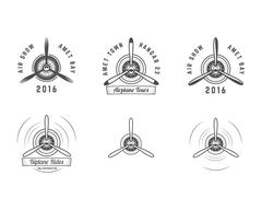 Set of Vintage airplane propeller emblems. Biplane labels. Retro Plane badges - stock illustration