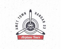 Airplane emblem. Biplane label. Retro Plane propeller badge, design elements Stock Illustration