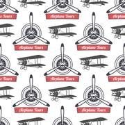 Vintage airplane tour pattern. Biplane propellers seamless background with Stock Illustration