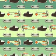 Cute airplane pattern. Doodle style. Old Biplanes seamless background with - stock illustration