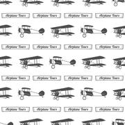 Vintage airplane tour pattern. Old Biplanes seamless background with ribbon - stock illustration