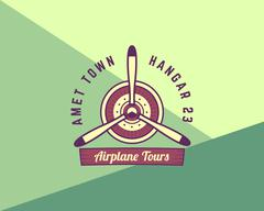Airplane propeller emblem. Biplane label. Retro Plane badge, design elements Stock Illustration