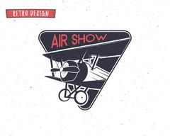 Airshow emblem. Biplane label. Retro Airplane badges, design elements. Vintage - stock illustration