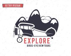 Airplane emblem. Biplane label. Retro Plane badges, design elements. Vintage - stock illustration