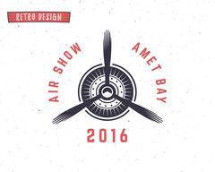 Airplane propeller emblem. Biplane label. Retro Plane badge, design elements - stock illustration