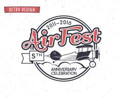 Air fest emblem. Biplane label. Retro Airplane badges, design elements. Vintage - stock illustration