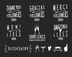 Set of vintage Thank you badges. Social media Followers labels and likes Stock Illustration