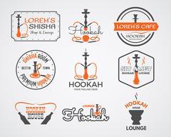 Hookah labels, badges and design elements collection. Vintage shisha logos set - stock illustration