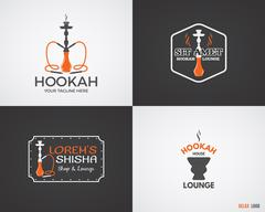 Set of Hookah relax labels, badges and design elements in 2 color variations - stock illustration