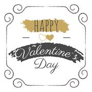 Happy Valentines Day vector lettering. Typography photo overlay, hand drawn text - stock illustration