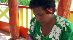 Close-up of Samoan woman weaving a mat Stock Footage