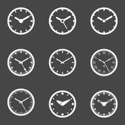 Clock Icon Set - Isolated Vector Illustration - stock illustration