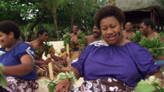 Fijian men and women taking part in ceremonial song Stock Footage