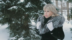 Woman Wrapped In A Fur Collar  Stock Footage