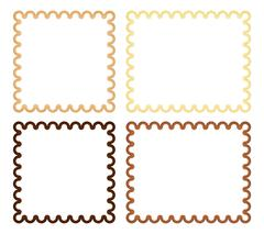 Set of 4 curl frame in shades of brown and beige - stock illustration