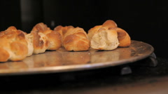 Fresh Baked Rolls In Oven Stock Footage