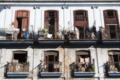 Cuba, Havana, old balconies - stock photo