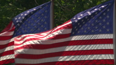 Two American flags rippling in a strong breeze Stock Footage
