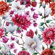 Watercolor raster floral pattern Stock Illustration