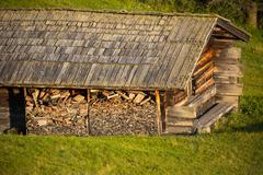 Alpine hut on alpine pasture, Alpe di Siusi, Italy - stock photo